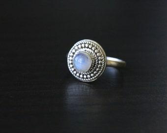 Moonstone Silver Ring, Rainbow Moonstone Rings, Gemstone Ring,
