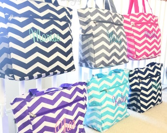 Gray Tote Bag, Beach Tote Bag, Bridesmaids Gift, Bridesmaids Bag, Personalized tote, Chevron Shoulder Bag, Beach Bag, Chevron Diaper Bag