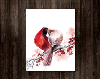 Birds Watercolor Print, Northern Cardinal Bird Couple, Love Painting, Kiss Painting, Watercolor Painting Art Print