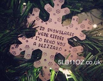 Hand Stamped Large Snowflake - Christmas Decoration - Ornament - Tree Decoration - Keepsake - Gift