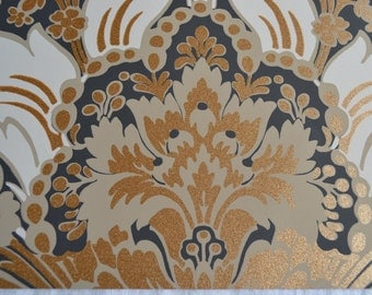 Wallpaper - Cole and Son  Sample Sheet  - 19 x 17  Albemarle Aldwych - Metallic Gold Charcoal
