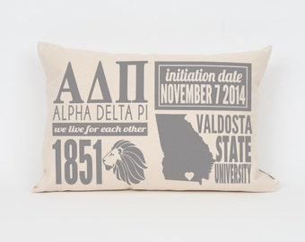 alpha delta pi custom sorority facts pillow greek letter pillow big little gift sorority letters sorority gift dorm decor