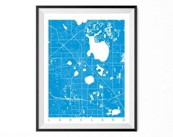 Lakeland Map Art Print / Lakeland City Poster / Lakeland Wall Art / Florida/ Gift / Florida home decor