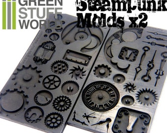 PACK x2 Steampunk Gear Texture RUBBER MOLDS Matt for Polymer Clay Impression Stamp, Clock