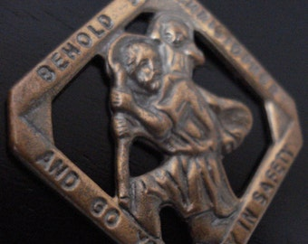 Religious Brass Medal Behold Saint Christopher And Your Way To Safety Vintage