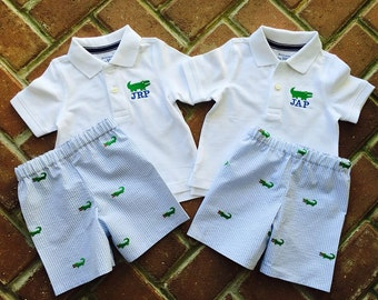 Boy Polo shirt with monogram and matching embrodiered shorts.