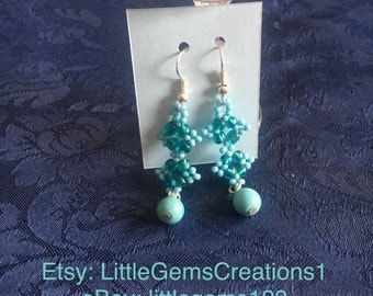 beaded earrings dangle New Handmade