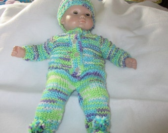 """Hand knit 5 piece set for 15"""" doll"""