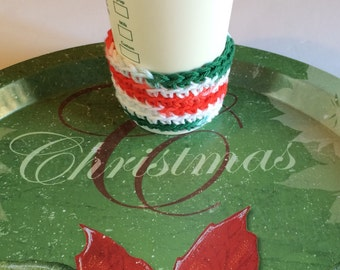 Multi color Christmas Holiday Gift Cup Cozy Includes gift wrapping option bag and gift tag, Great Stocking Stuffer