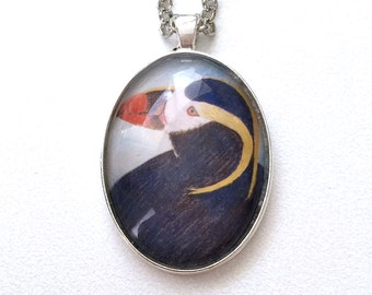 Puffin Pendant Necklace Silver Copper Black