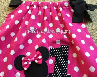 Hot Pink Minnie Mouse Pillowcase Dress - Minnie Mouse Polka dots Pillowcase Dress - Fashion Pillowcase - Big Number Minnie