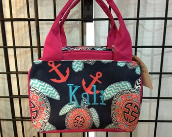 Turtle Print Nautical Monogrammed Lunch Box Hot Pink Trim