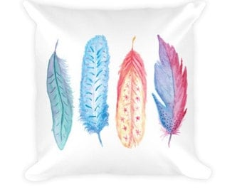 Watercolor Feathers - Pillow