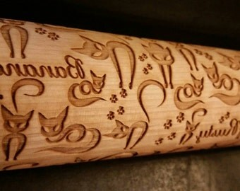 Cats Fancy with paws- Names added Rolling Pin