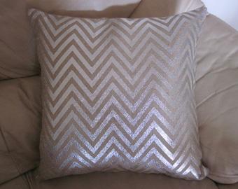 Metallic Silver / Hessian Chevron Design Cushion