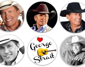 """Set of 6 George Strait 1.25"""" Pinback Buttons Flat Backs or Magnets Country Music Singer"""