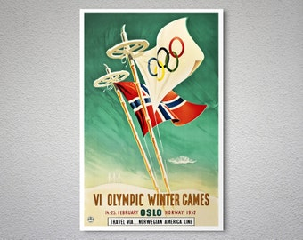 VI th Olympic Winter Games - Oslo 1952 -  Vintage Travel Poster - Poster Print, Sticker or Canvas Print