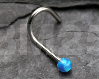 Blue Fire Opal Steel Nose Screw Ring
