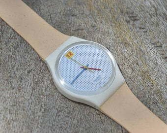 Vintage Dotted Swiss Swatch Watch