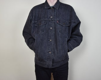 Vintage Black Levis Stone Washed Denim Jacket