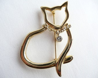 Vintage Cat Silhouette Brooch Pin with Rhinestone Collar