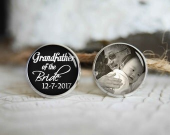 Grandfather of the bride personalized photo cufflinks, cool gifts for men, custom wedding silver plated or black cuff link