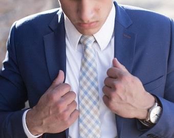 Necktie, Light Blue & Brown Plaid Men's Necktie