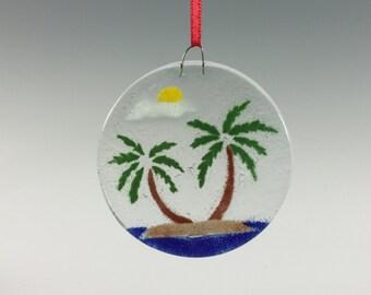 Palm Tree Ornament Fused Glass Island Ornament