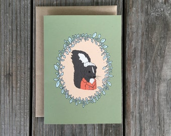 Skunk Greeting Card, Woodland Creatures, Forest Critters Card