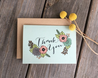 Thank You Card, Floral Thank You Card, Single Thank You Card