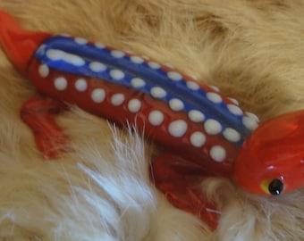 Blown Glass Lizard/Gecko/ Red,White, Blue