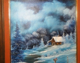 Vintage 1992 Oil on Board/ Signed P. Miller/ Cabin/Snow/ Mailbox /Pine Trees