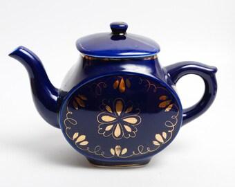 Vintage Porcelain Teapot, Cobalt Blue, USSR Russia (PR754)