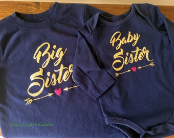 Set of Big and Little Baby Sister Sibling Shirts