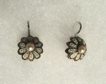 Vintage Enamel and Pearl Earrings from Spain
