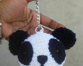 Crochet panda Keychain / keyring. Amigurumi panda Keychain.