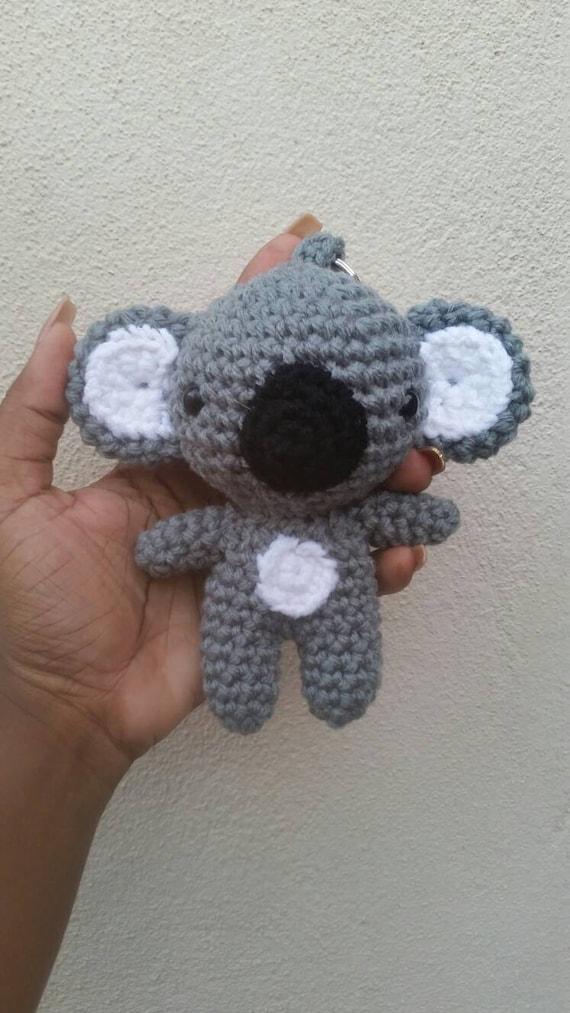 Crochet koala bear Keychain/keyring. Amigurumi koala bear