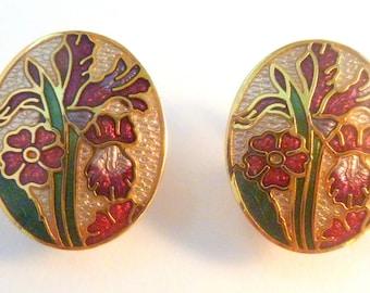Vintage Sea Gems Cloisonne Enamel Floral Design Clip On Earrings
