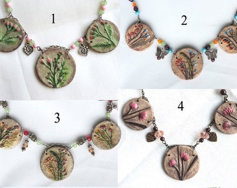 Handmade necklace, Plant design, Imprint, Flowers necklace, Handmade jewelry, Beaded necklace, Pendant, Painted jewelry