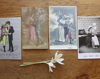 Antique postcards couples 1900s ephemera ~ price per postcard