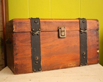 Vintage Handmade Wooden Chest with Leather Straps and Handles