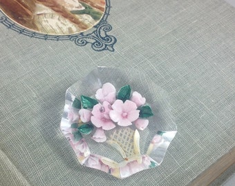 Beautiful Vintage Reverse Carved Lucite Brooch Pink Flower Basket