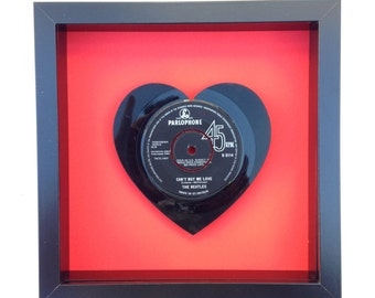The Beatles 'All You Need Is Love' Heart Shaped Vinyl Record Art
