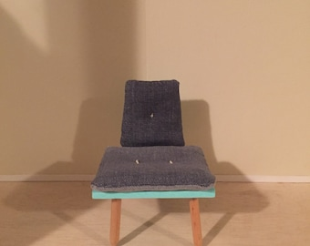 1:6 play scale armless chair with grey denim cushions