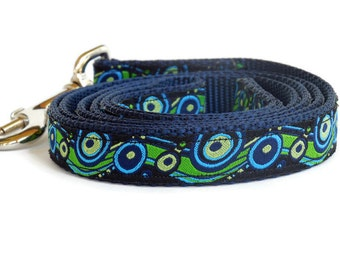 Preppy Blue and Green Swirls Boy Dog Leash - 4 Foot or 5 Foot - Ocean Inspired