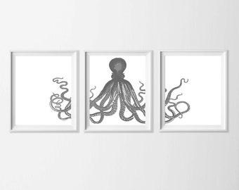 Printable Octopus Art , Beach Art Stardust Grey , Beach Cottage Wall Decor Ocean Nursery Art , Kids Room Octopus Art , Bathroom Ocean Art