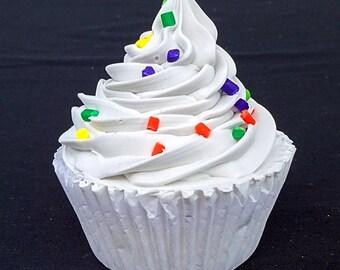 White with Sprinkles Fake Cupcake