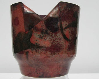 signed Barbara  CULP vintage modern abstract COPPER ENAMEL sculptural  vessel  figural / animals / California well listed artist