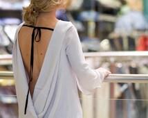 White Shirt, Long Sleeve Top, Short Tunic, Tunic Coverup, Backless Top,  Party Shirt, Boho Blouse, Goth Top, Avant Garde Shirt, Wrap Blouse