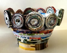 Decorated recycled paper basket